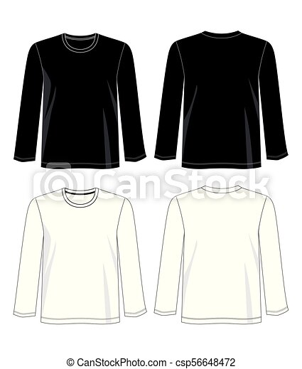 388293031d62 Long sleeve 02.eps. Design vector t shirt template collection for t ...