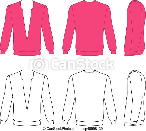 Long sleeve t-shirt outlined template (front, side & back view ...