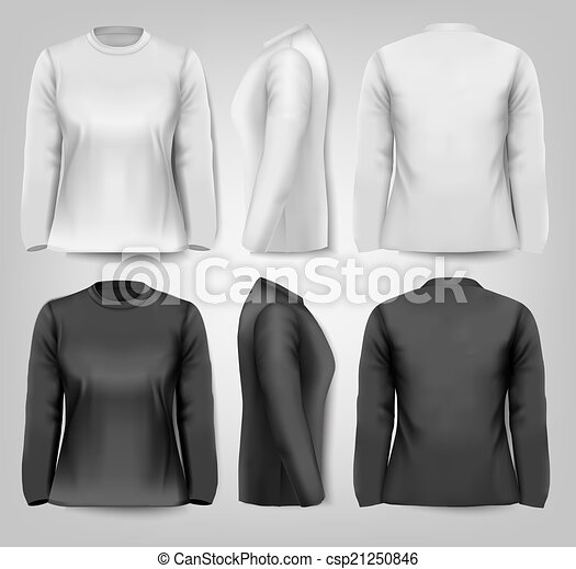 Long sleeved female t-shirts with sample text space. Vector.  - csp21250846