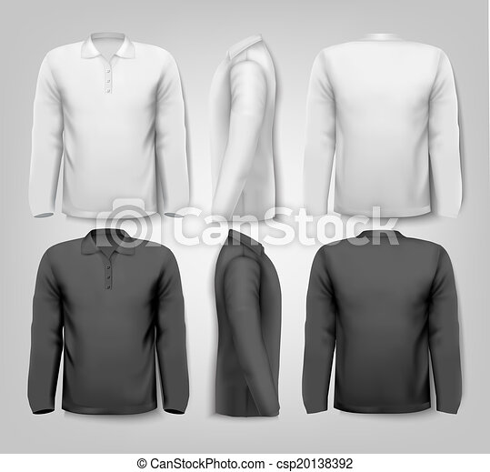 Long sleeved shirts with sample text space. Vector. - csp20138392