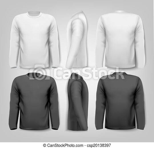 Long sleeved shirts with sample text space. Vector. - csp20138397