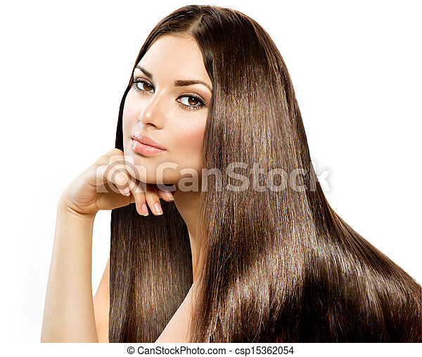 Long Straight Hair. Beautiful Brunette  isolated on white - csp15362054