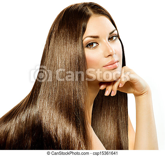 Long Straight Hair. Beautiful Brunette  isolated on white - csp15361641