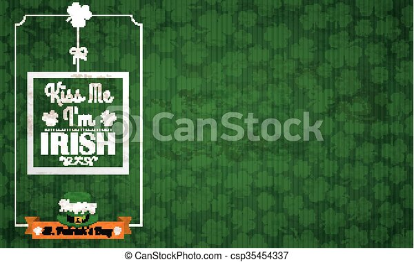 Long Vintage Background St Patricks Day Kiss Me - csp35454337