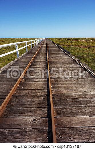 Long Wooden Boardwalk - csp13137187