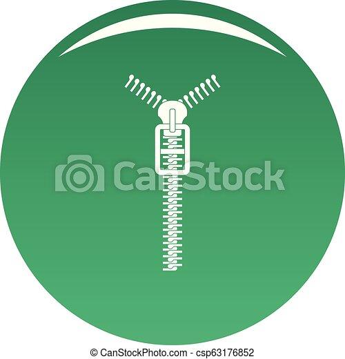 Long zip icon vector green - csp63176852