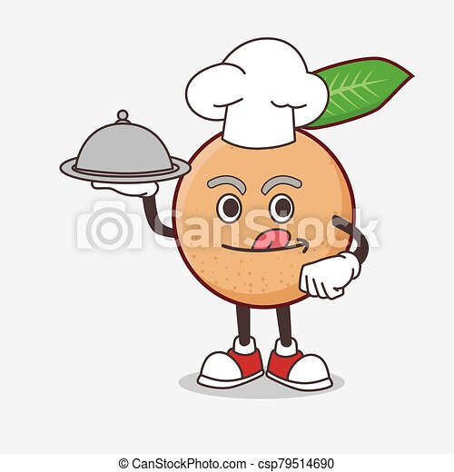 Longan Fruit cartoon mascot character as a Chef with food on tray ready to serve - csp79514690