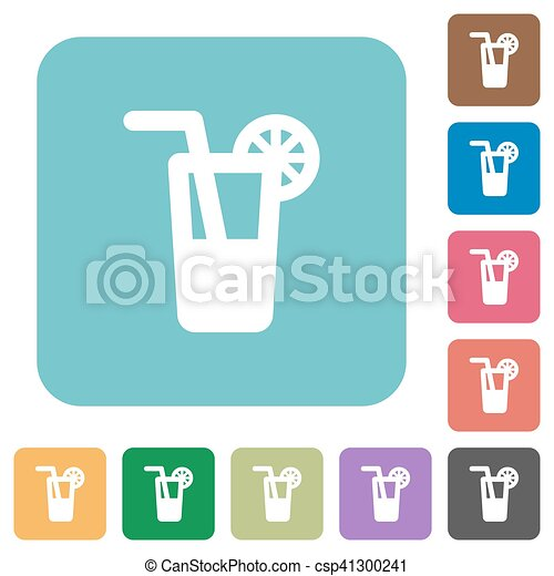 Longdrink white flat icons on color rounded square backgrounds - csp41300241