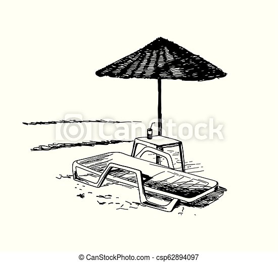 longue chaise, plage, parasol., vue - csp62894097