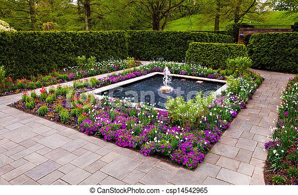 Omtalade Longwood trädgård, fontän trädgård, pennsylvania. EB-91
