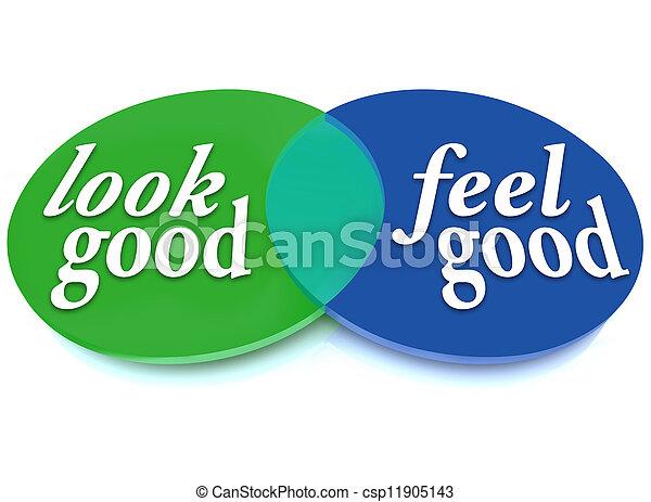 Look and Feel Good Venn Diagram Balance Appearance vs Health - csp11905143