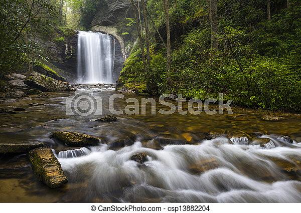 Looking Glass Falls North Carolina Blue Ridge Parkway Waterfalls near Brevard in Western NC Appalachian Mountains - csp13882204
