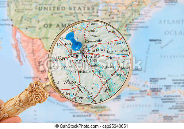 Us Map Dallas.Looking In On Dallas Texas Usa Blue Tack On Map Of United States