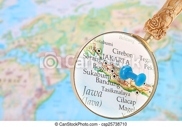 Map Of Asia Jakarta.Looking In On Jakarta Indonesia Blue Tack On Map Of Asia With