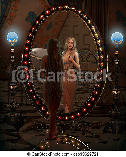 Looking in the Mirror, 3d CG - csp33629721