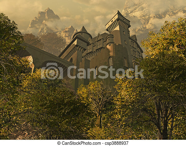 Looking Up At A Castle Fortress - csp3888937