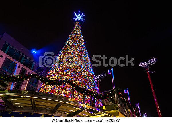 Looking up at a Christmas tree at night, in National Harbor, Maryland. - csp17720327