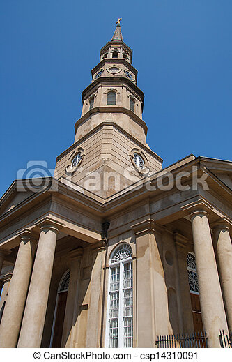 Looking up at Old Church from Ground - csp14310091