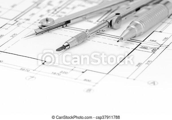 Amazing Loor, Werkzeuge, Plan, Hintergrund, Zeichnung   Csp37911788