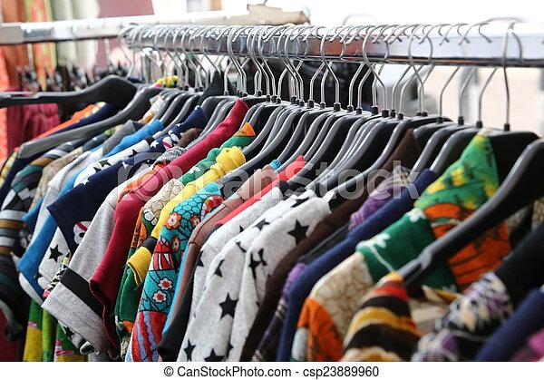 loppa, årgång, försäljning, marknaden, kläder - csp23889960