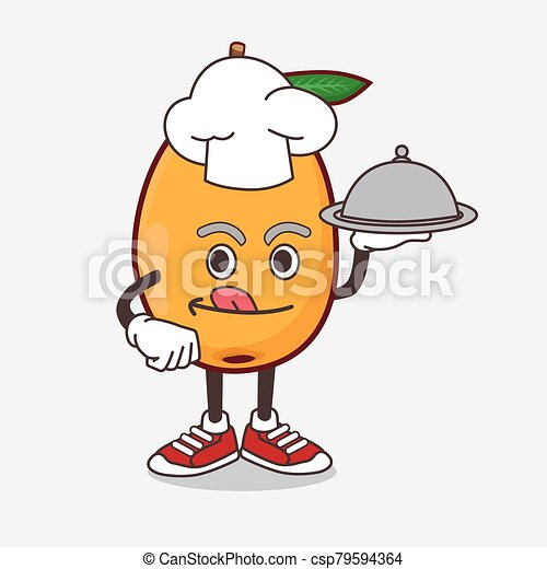 Loquat Fruit cartoon mascot character as a Chef with food on tray ready to serve - csp79594364