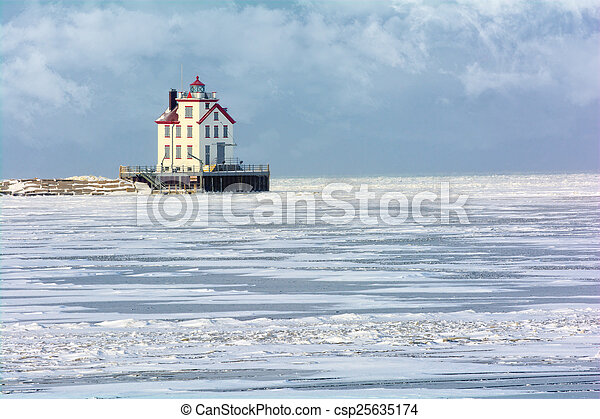 Lorain Lighthouse in Winter - csp25635174