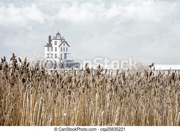 Lorain Lighthouse in Winter - csp25635221