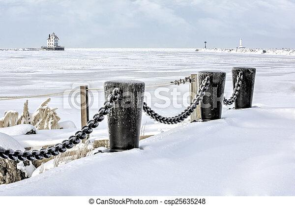 Lorain Lighthouse in Winter - csp25635248