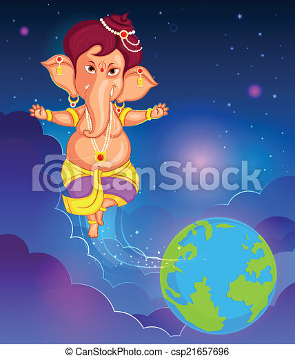 Lord Ganesha in vector for Happy Ganesh Chaturthi - csp21657696