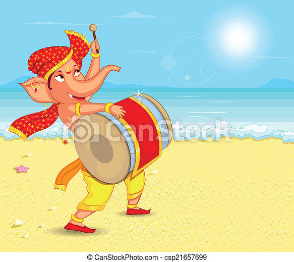 Lord Ganesha in vector for Happy Ganesh Chaturthi - csp21657699