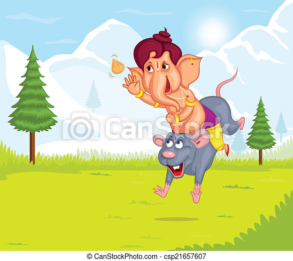 Lord Ganesha in vector for Happy Ganesh Chaturthi - csp21657607