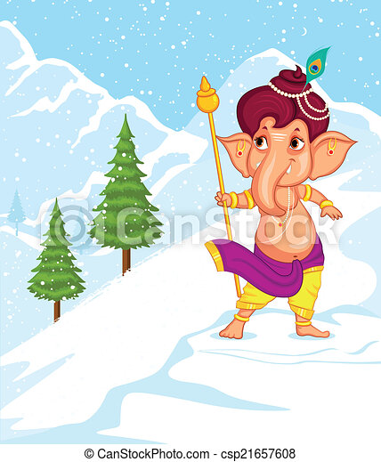 Lord Ganesha in vector for Happy Ganesh Chaturthi - csp21657608