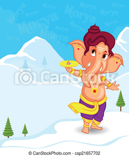 Lord Ganesha in vector for Happy Ganesh Chaturthi - csp21657702