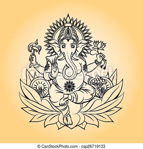 Lord ganesha indian god with elephant head - csp26719133