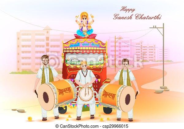 Lord Ganesha procession for Ganesh Chaturthi - csp29966015