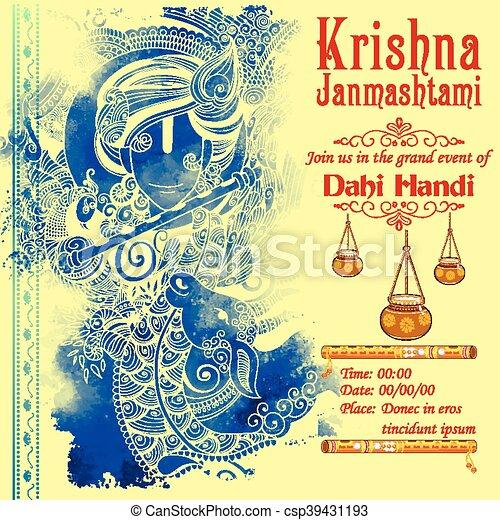Lord Krishana in Happy Janmashtami - csp39431193