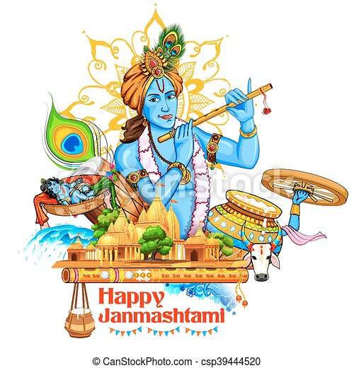 Lord Krishana in Happy Janmashtami - csp39444520