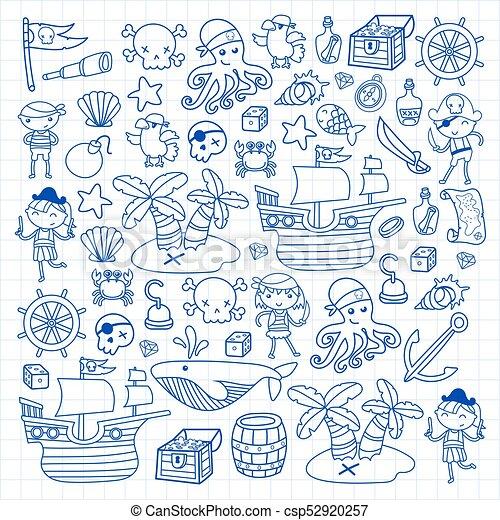 Loro, preescolar, piratas, isla, escuela, niñas, viaje, tesoro ...