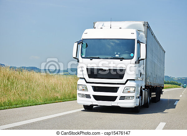 lorry moving with trailer on lane - csp15476147