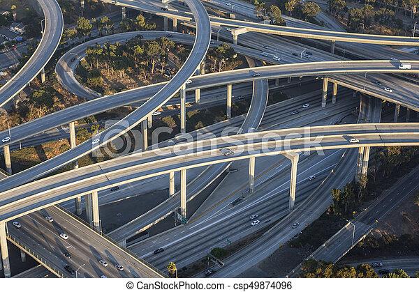 Los Angeles 110 and 105 Freeway Interchange Aerial - csp49874096