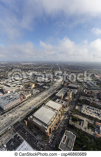 Los Angeles 110 Freeway Aerial with Afternoon Clouds - csp46860689