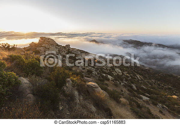 Los Angeles California Rocky Peak Park Sunrise Clouds - csp51165883