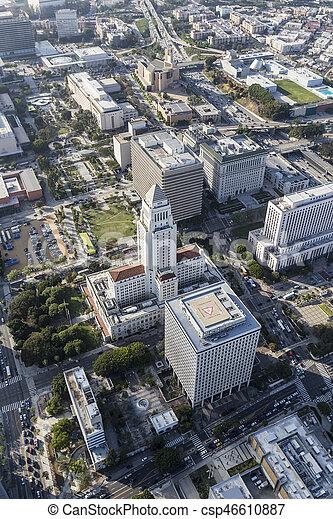 Los Angeles City Hall Aerial - csp46610887
