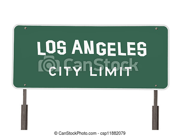 Los Angeles City Limit Sign with Handmade Font - csp11882079