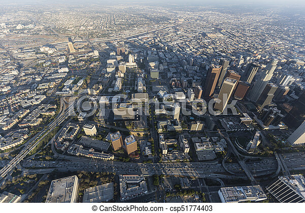Los Angeles Civic Center and Bunker Hill Aerial - csp51774403