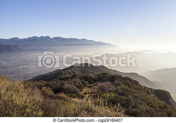 Los Angeles County Misty Morning Hilltop View - csp24166407