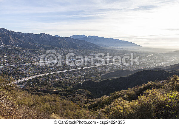 Los Angeles County Morning Valley View - csp24224335
