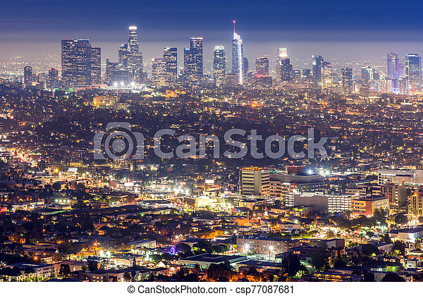 Los Angeles Downtown sunset - csp77087681
