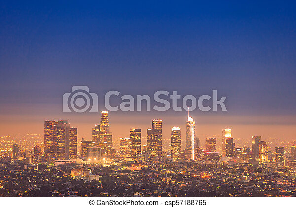 Los Angeles Downtown sunset - csp57188765