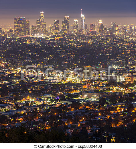 Los Angeles Downtown sunset - csp58024400